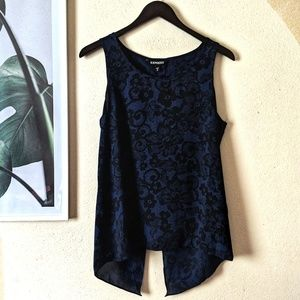 🌴 Express Blue Floral Ventilated Back Tank Top